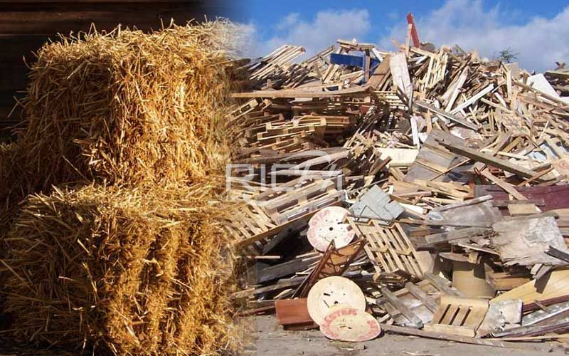 Raw materials are waste wood and straw